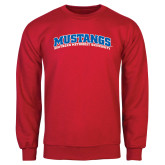 Red Fleece Crew-Arched Mustangs