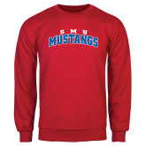 Red Fleece Crew-Arched SMU Mustangs