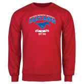 Red Fleece Crew-Arched Mustangs w/ Banner
