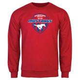 Red Fleece Crew-Mustangs in Shield