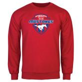 Red Fleece Crew-Mustangs in Shield