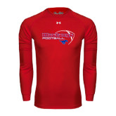 Under Armour Red Long Sleeve Tech Tee-Football Outline Design
