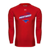 Under Armour Red Long Sleeve Tech Tee-Angled Basketball Design