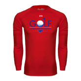 Under Armour Red Long Sleeve Tech Tee-Stacked Golf Design