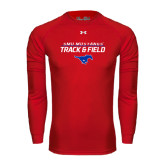 Under Armour Red Long Sleeve Tech Tee-Track and Field Stacked Design