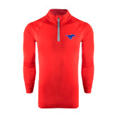 Under Armour Red Tech 1/4 Zip Performance Shirt-Official Outlined Logo