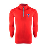 Under Armour Red Tech 1/4 Zip Performance Shirt-SMU w/Mustang