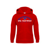 Youth Red Fleece Hoodie-Arched Football Design