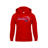 Youth Red Fleece Hoodie-Football Outline Design