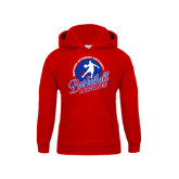 Youth Red Fleece Hoodie-Player on Basketball Design