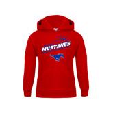 Youth Red Fleece Hoodie-Angled Basketball Design