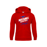 Youth Red Fleece Hoodie-Angled Mustangs in Basketball