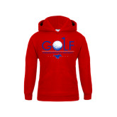 Youth Red Fleece Hoodie-Stacked Golf Design