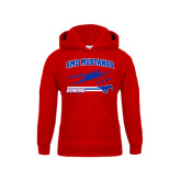 Youth Red Fleece Hoodie-Rowing Design