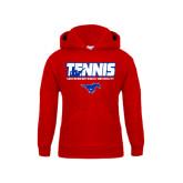 Youth Red Fleece Hoodie-Tennis Design