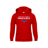Youth Red Fleece Hoodie-Track and Field Stacked Design