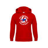 Youth Red Fleece Hoodie-Mustang on Volleyball