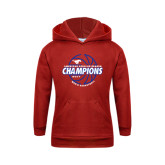 Youth Red Fleece Hoodie-AAC Regular Season Champions 2017 Mens Basketball Lined Ball
