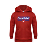 Youth Red Fleece Hoodie-2017 AAC Regular Season Champions - Mens Basketball Stencil