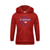 Youth Red Fleece Hoodie-2017 AAC Conference Champions - Mens Basketball Contour Lines