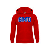 Youth Red Fleece Hoodie-Block SMU