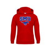 Youth Red Fleece Hoodie-SMU w/Mustang