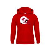 Youth Red Fleece Hoodie-SMU Football Helmet