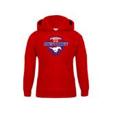 Youth Red Fleece Hoodie-Mustangs in Shield