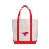 Contender White/Red Canvas Tote-Official Outlined Logo
