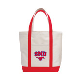 Contender White/Red Canvas Tote-SMU w/Mustang