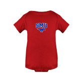 Red Infant Onesie-SMU w/Mustang