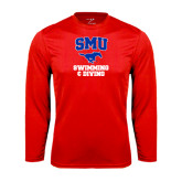 Performance Red Longsleeve Shirt-Swimming and Diving