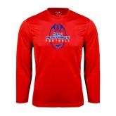 Performance Red Longsleeve Shirt-Tall Football Design