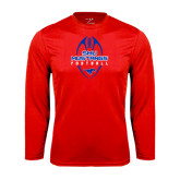 Syntrel Performance Red Longsleeve Shirt-Tall Football Design
