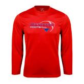 Performance Red Longsleeve Shirt-Football Outline Design