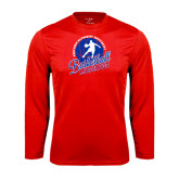 Performance Red Longsleeve Shirt-Player on Basketball Design