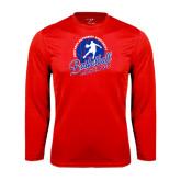 Syntrel Performance Red Longsleeve Shirt-Player on Basketball Design