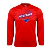 Performance Red Longsleeve Shirt-Angled Basketball Design
