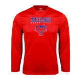 Performance Red Longsleeve Shirt-Stacked Basketball Design