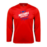 Performance Red Longsleeve Shirt-Angled Mustangs in Basketball