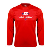 Syntrel Performance Red Longsleeve Shirt-Stacked Cross Country Design