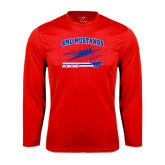 Performance Red Longsleeve Shirt-Rowing Design