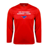 Performance Red Longsleeve Shirt-Stacked Swim and Dive Design