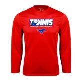 Performance Red Longsleeve Shirt-Tennis Design