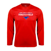 Performance Red Longsleeve Shirt-Track and Field Stacked Design