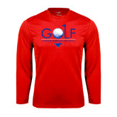Syntrel Performance Red Longsleeve Shirt-Stacked Golf Design