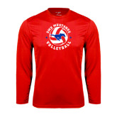 Performance Red Longsleeve Shirt-Mustang on Volleyball