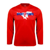 Performance Red Longsleeve Shirt-#PonyUpTempo Flat