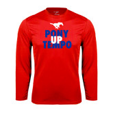 Performance Red Longsleeve Shirt-Pony Up Tempo Stacked