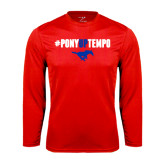 Performance Red Longsleeve Shirt-#PonyUpTempo Above Mustang